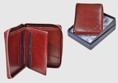 portfel skórzany damski TSPF 295 <br/>  wymiary zewnętrzne 9 x 10,5cm