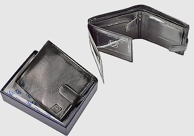 portfel skórzany męski TSPF 390 <br/> wymiary 10 x 12cm