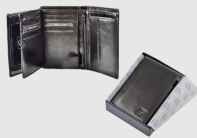 portfel skórzany męski TSPF 391  <br/> wymiary 9 x 12,5cm