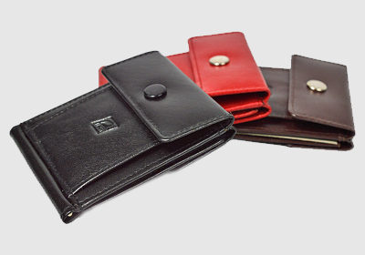 portfel skórzany unisex TSHC 4108/S4/BK <br/> wymiary zewnętrzne 8 x 9,5 cm